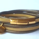 Wikkelarmband leer goud/olijf | Priddy