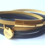 Wikkelarmband leer goud/zwart | Priddy